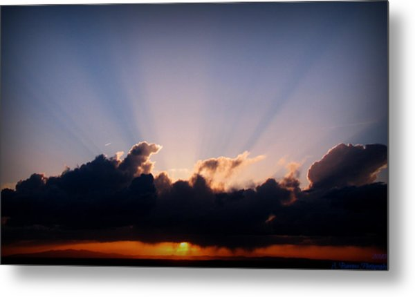 Rays Of Light Through The Storm Metal Print by Aaron Burrows