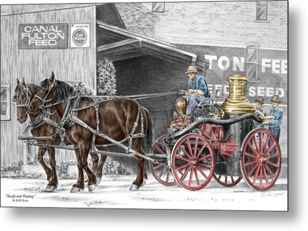 Ready And Waiting - Canal Fulton Ohio Fire Engine Print Metal Print