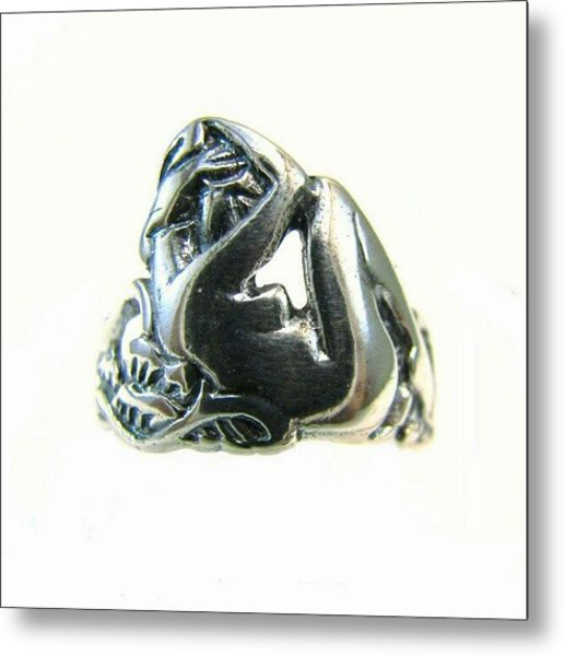 Reclining #nude #sterling #ring - Part Metal Print