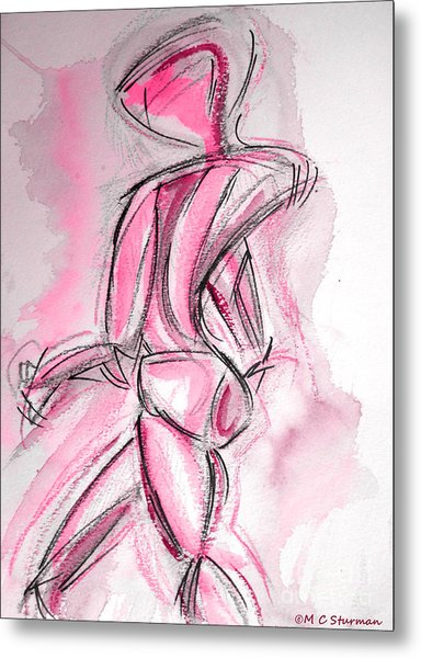 Red Abstract Nude Metal Print by M c Sturman