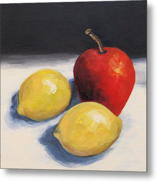 Red Apple And Two Lemons Metal Print