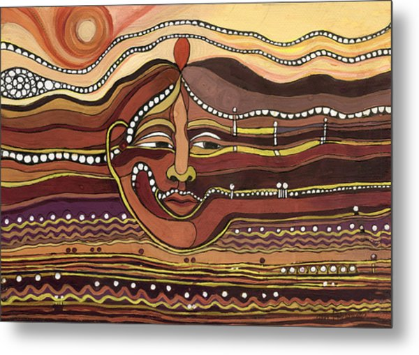 Red Aztec Face In Nature Landscape Abstract Fantasy With Earth Colors Sunset And Skyline Metal Print