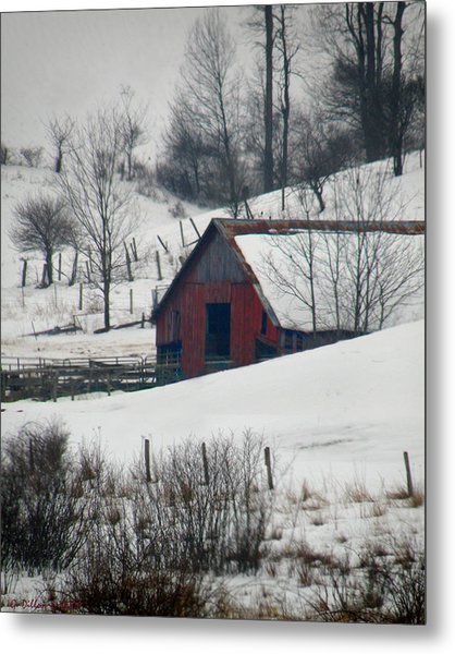 Metal Print featuring the photograph Red Barn In Snow by Grace Dillon