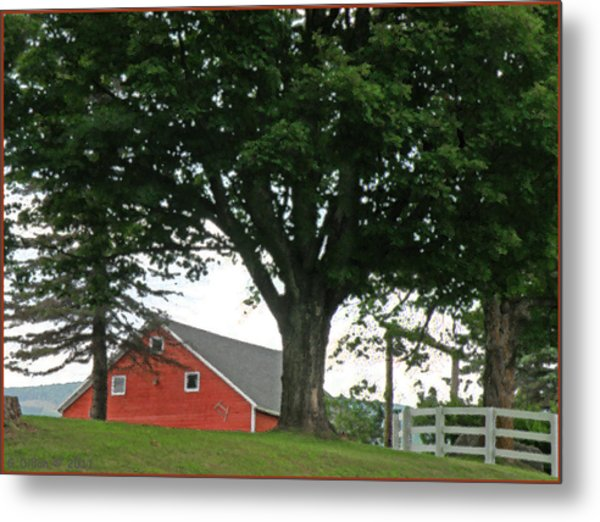 Metal Print featuring the digital art Red Barn White Fence by Grace Dillon