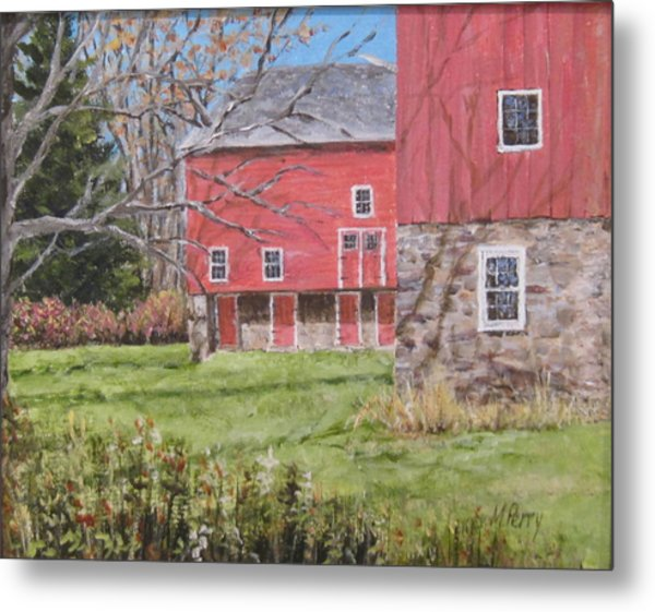 Red Barn With Shadows Metal Print
