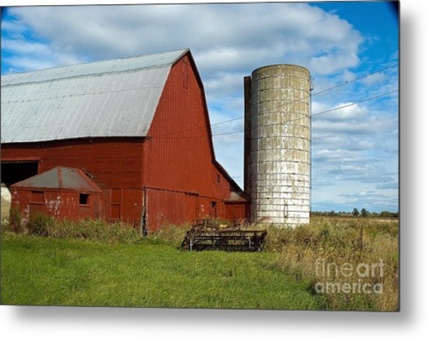Red Barn With Silo Metal Print by Ginger Harris