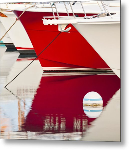 Red Boat Reflection Metal Print