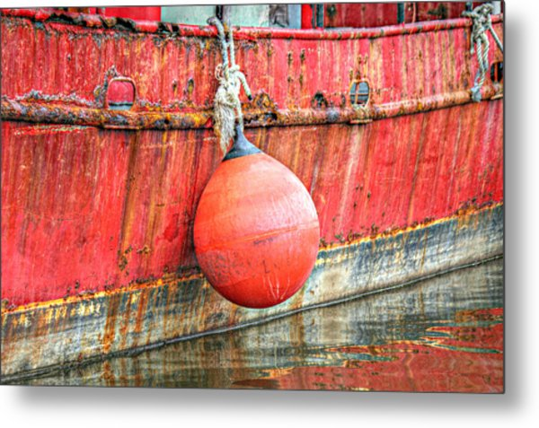 Red Boat With Bumper Metal Print