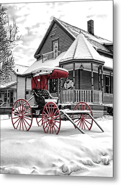 Red Buggy At Olmsted Falls - 2 Metal Print