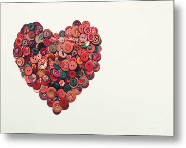 Red Button Heart Metal Print by Catherine MacBride