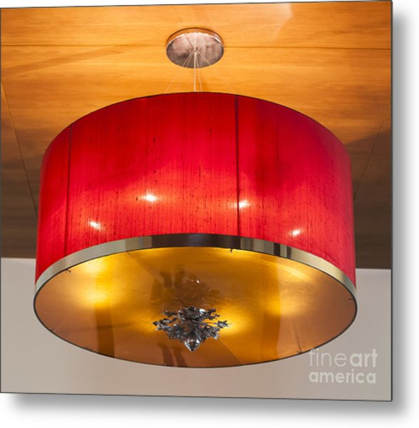 Red Circles Chandelier  Metal Print by Chavalit Kamolthamanon