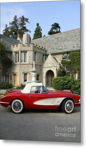 Red Corvette Outside The Playboy Mansion Metal Print
