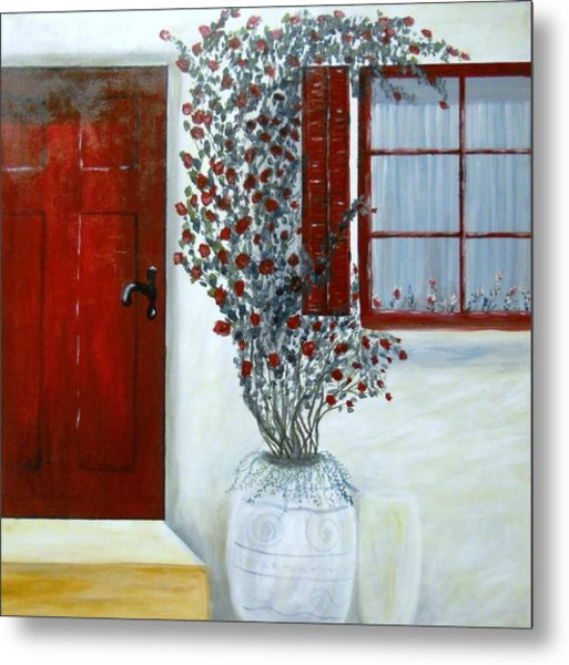 Red Door Rose Metal Print