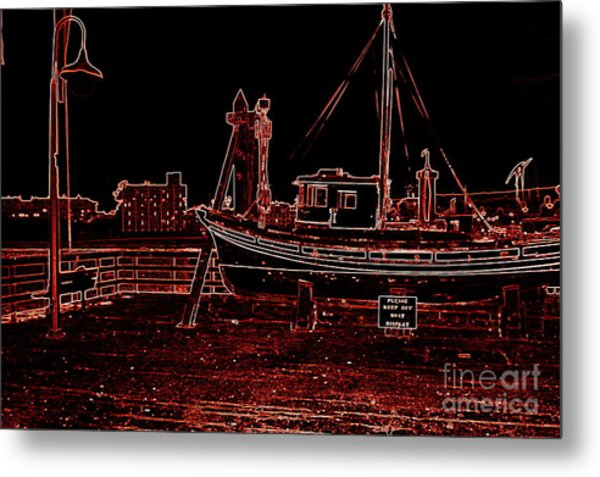 Red Electric Neon Boat On Sc Wharf Metal Print