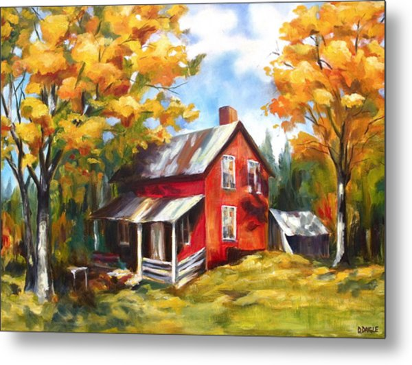 Red House In Autumn Metal Print