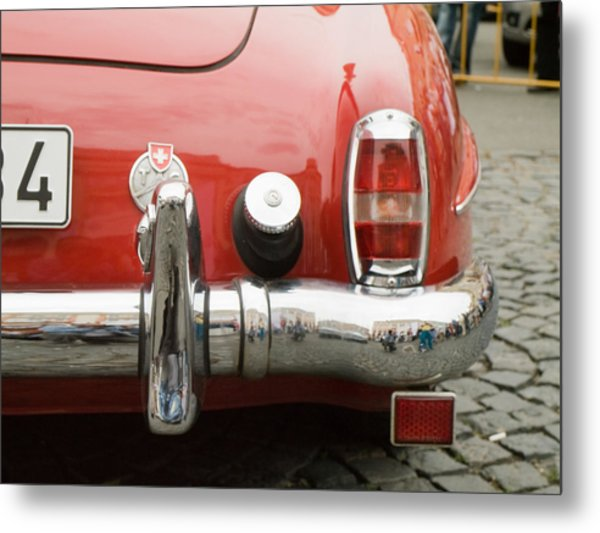 Red Mercedes Metal Print by Odon Czintos