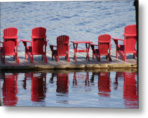 Red Muskoka Chairs Metal Print by Carolyn Reinhart