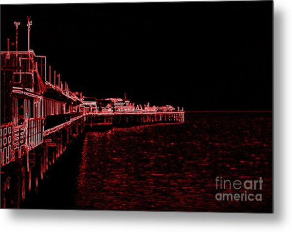 Red Neon Wharf Metal Print