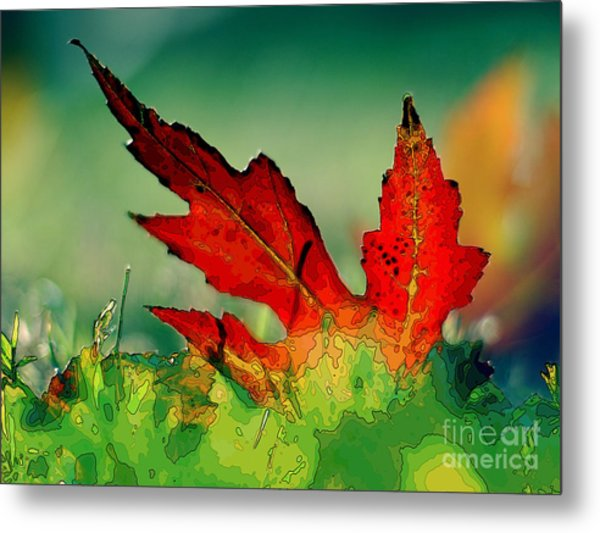 Red Oak Leaf Metal Print