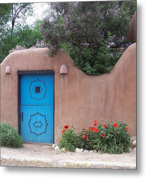 Red Poppies Blue Door Nb Metal Print