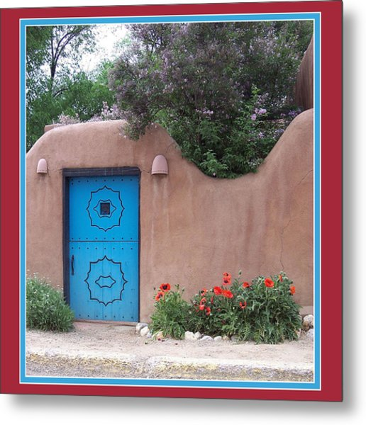 Red Poppies Blue Door Metal Print