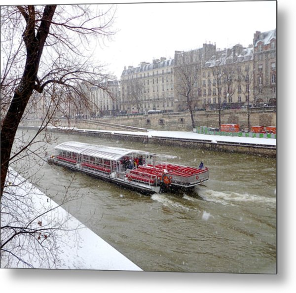 Red Riverboat On The Seine Metal Print
