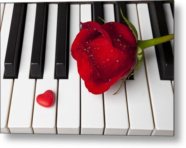 Red Rose And Candy Heart Metal Print