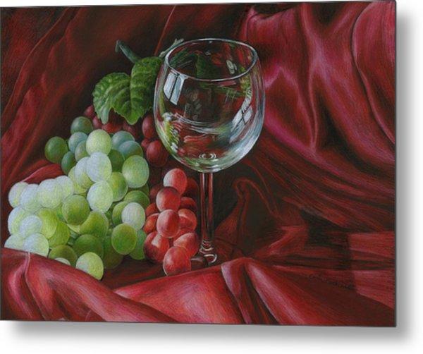 Red Satin And Grapes Metal Print