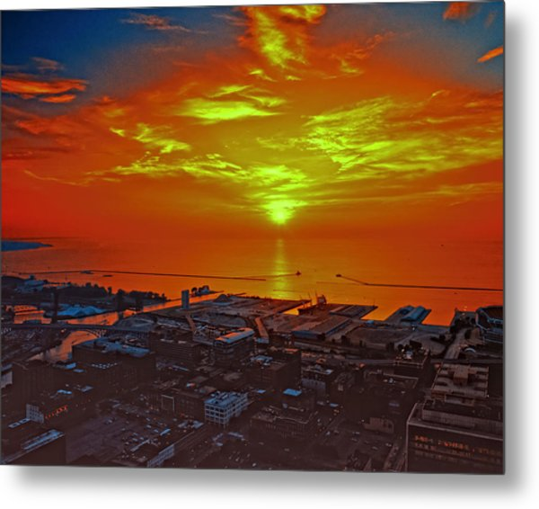 Red Sky At Night A Sailors Delight Metal Print