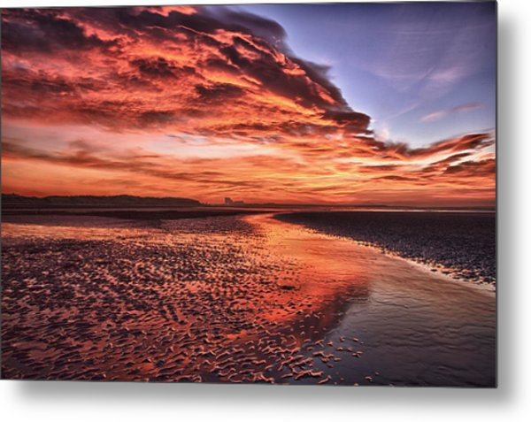 Red Sky Beach Sunrise Metal Print