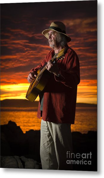 Red Sky Guitarist Metal Print by David Lade