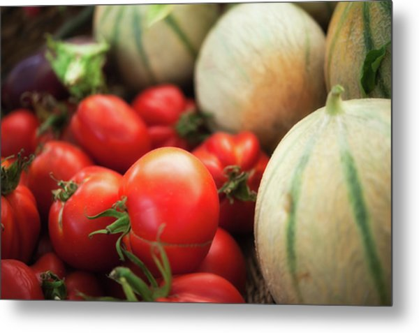 Red Tomatoes And Cantaloupe Melons Metal Print