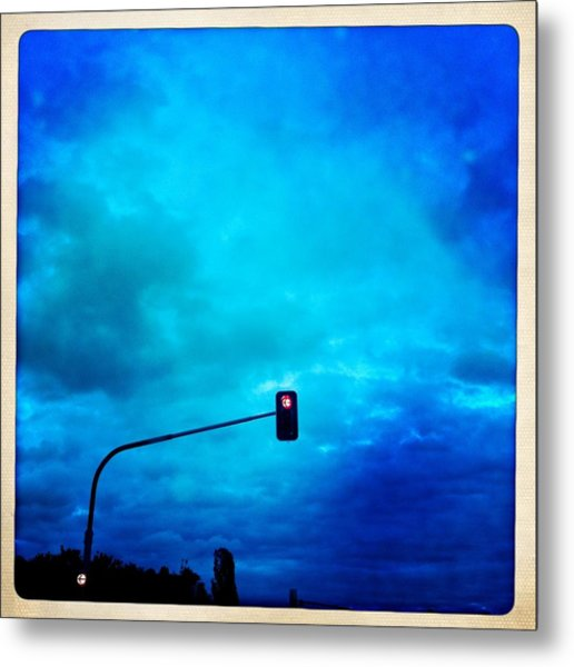 Red Traffic Light And Cloudy Blue Sky Metal Print