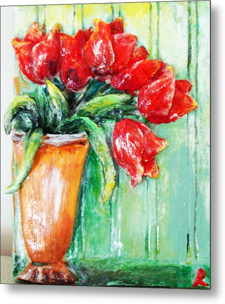 Red Tulips In Vase           Metal Print