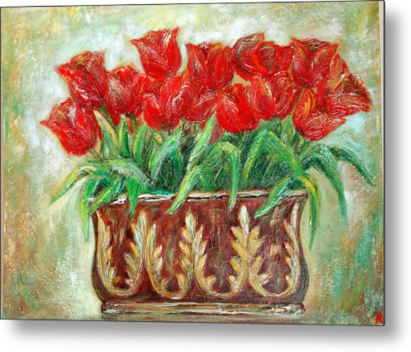 Red Tulips On The Wall Metal Print