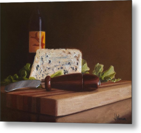 Metal Print featuring the painting Red Wine And Bleu Cheese by Joe Winkler