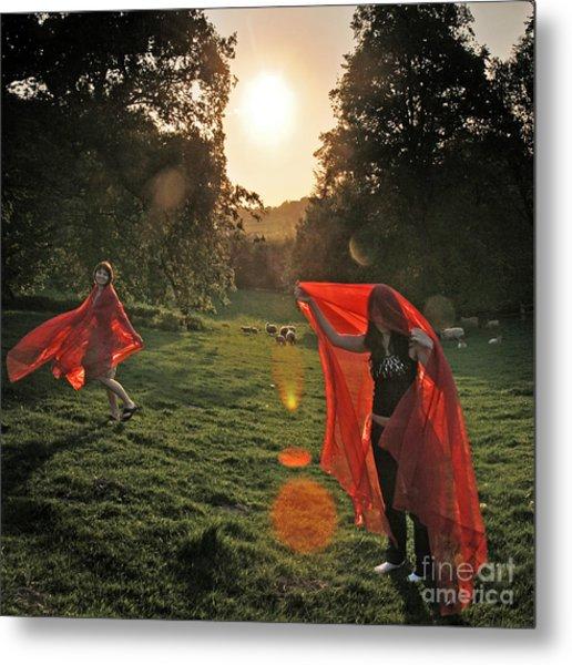 Red Witches Dance Metal Print by Angel Ciesniarska