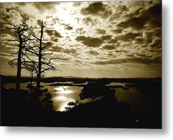 Reflection Of Moonlight On Squam Metal Print
