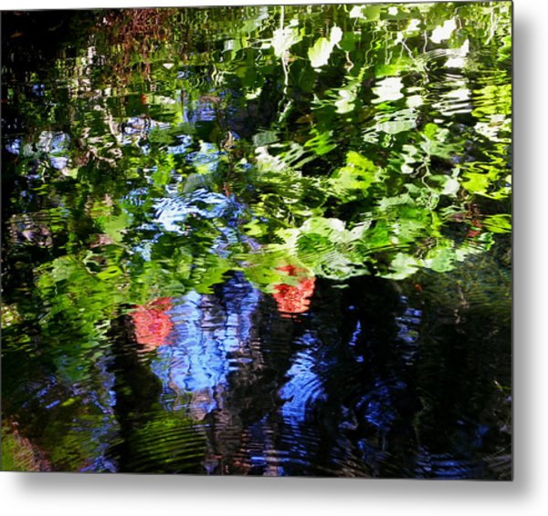 Reflections Of Fall In The Spring Metal Print by Judy Wanamaker