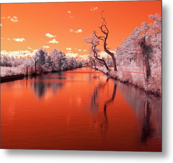 Reflections On Canal In Infra Red Metal Print by Jackie Briggs
