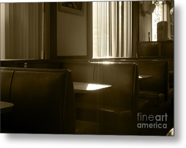 Restaurant Booth With Streaming Sunlight In Sepia Metal Print