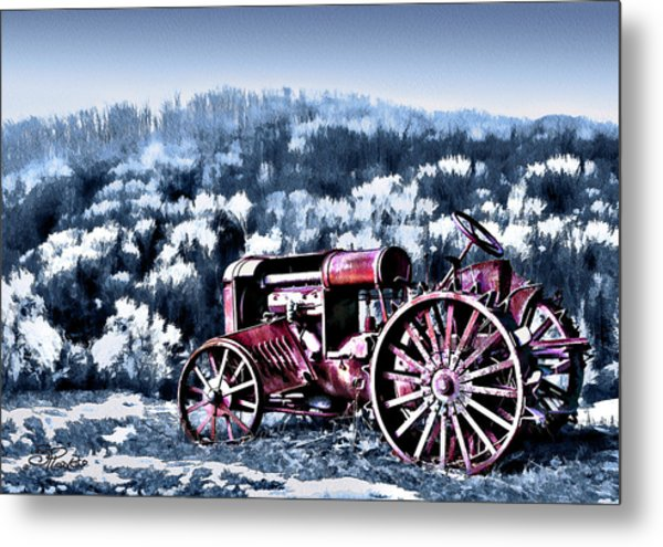 Retired Tractor Metal Print by Suni Roveto