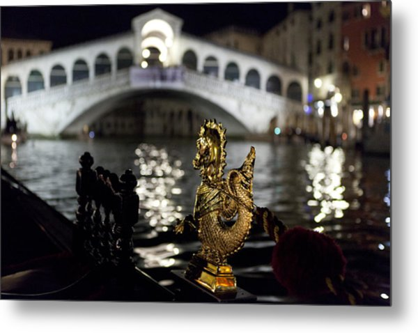 Rialto Bridge From Gondola Metal Print