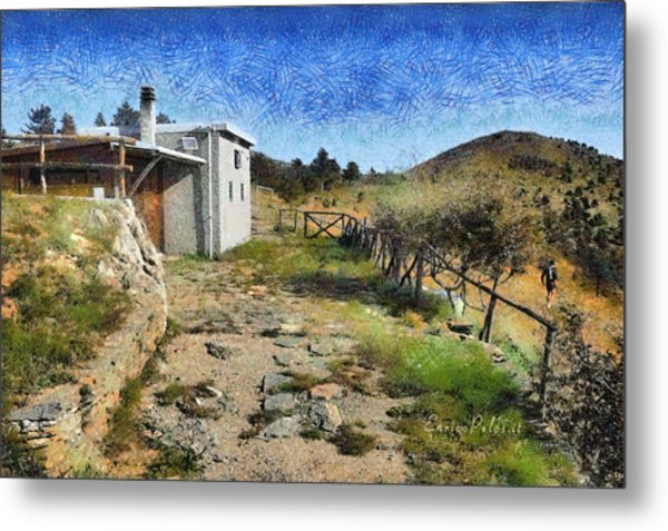 Metal Print featuring the painting Rifugio Naturalistico Del Cai - Cai Bird Watching House by Enrico Pelos