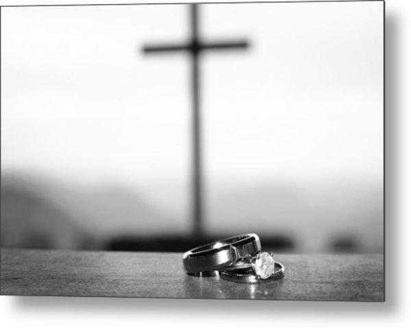 Rings And Cross Metal Print