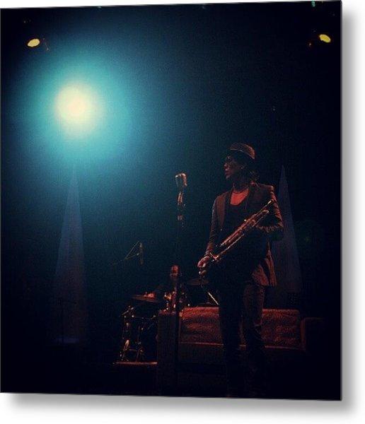 Rio Sidik #jazz #blue #stage #light Metal Print