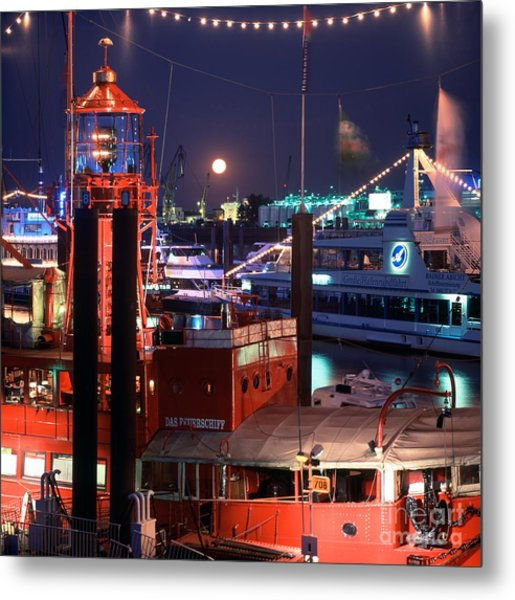 Rising Moon Over Lightship Metal Print by Serge Fourletoff
