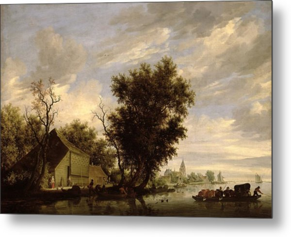 River Scene With A Ferry Boat Metal Print