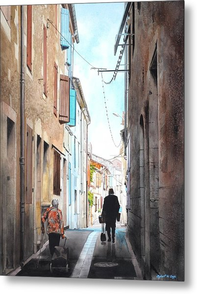 Road To Market In Gascony Metal Print
