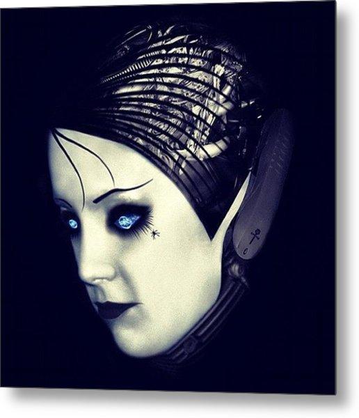 #robot #android #cyborg #blue #eyes Metal Print